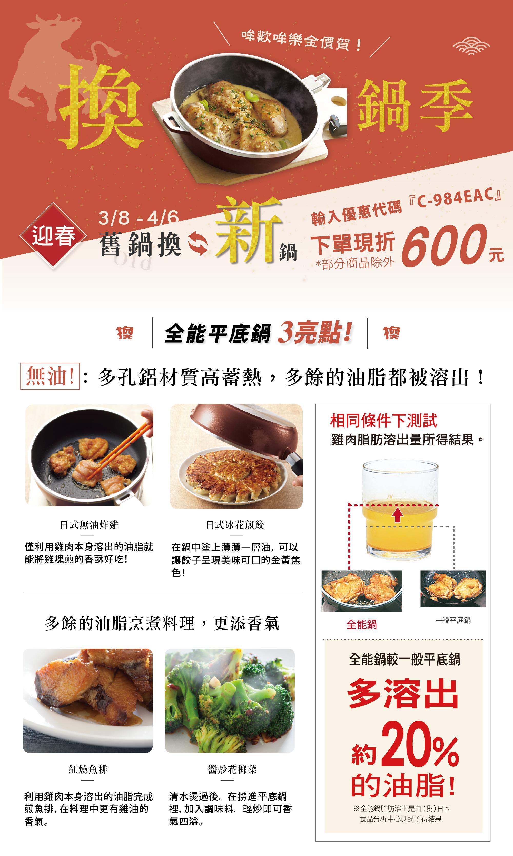 日本製平底鍋,全能鍋,平底不沾鍋,日本製鍋具,換鍋優惠,平底鍋優惠